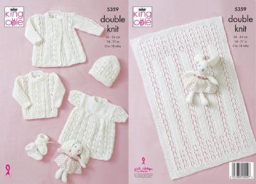 King Cole 5359 - Baby DK Knitting Pattern Jacket ,Coat ,Angel Top ,Bootees and Blanket